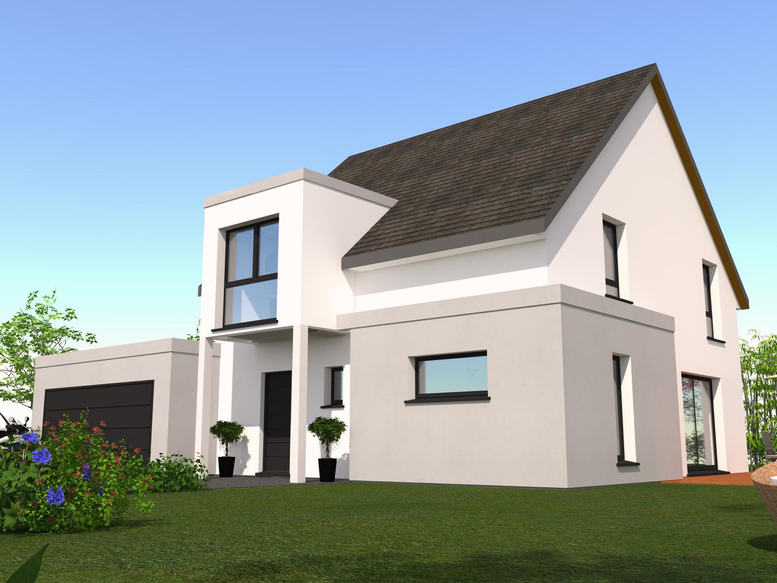 Maison 2 pans avec une lucarne cubique maisons k for Constructeur de maison en alsace