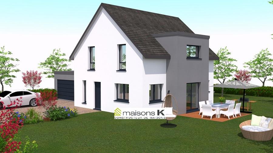 maison individuelle avec lucarne int gr e et garage accol maisons k constructeur de maisons. Black Bedroom Furniture Sets. Home Design Ideas